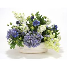 Distinctive Designs Nantucket Mix of Hydrangeas, Lilacs and Snowballs in Oval Planter