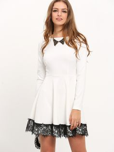 Shop White Contrast Lace Hem Flare Dress online. SheIn offers White Contrast Lace Hem Flare Dress & more to fit your fashionable needs.