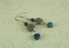 Blue+Sodalite+and+Silver+Dangle+Earrings+by+DavyJonesTreasures,+$10.00