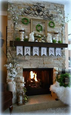 New Images Fireplace Mantels spring Tips 35 Best Easter Fireplace Mantel Decor .New Images Fireplace Mantels spring Tips 35 Best Easter Fireplace Mantel Decor Ideas living Best Easter Spring Home Decor, Diy Home Decor, Fireplace Mantels, Fireplaces, Stone Fireplace Decor, Fireplace Ideas, Room Decorations, Spring Decorations, Summer Mantle Decor