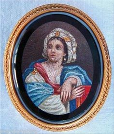 """Vatican quality micro mosaic portrait, unbelievable this piece is only 2"""" high including frame!"""