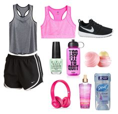 """""""Workout Essentials"""" by fashionloveree ❤ liked on Polyvore featuring NIKE, H&M, Victoria's Secret PINK, Eos, OPI and plus size clothing"""