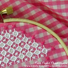 Finished Lace Stitch on Little Cottage Pattern for Chicken Scratch Embroidery    *** a very good pattern and tutorial for chicken scratch here***