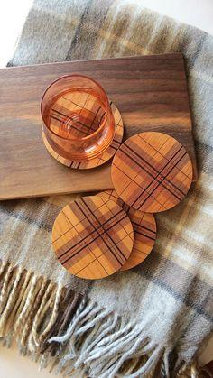 Wood Coasters - Engraved Wood Coasters - Plaid - Tartan - set of 4