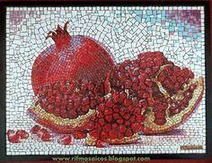 Mosaic Crafts, Mosaic Projects, Mosaic Art, Mosaic Tiles, Pomegranate Art, Mosaic Designs, Still Life, Rooster, Mandala