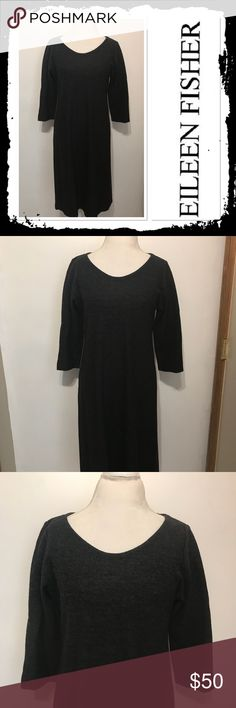 Eileen Fisher Charcoal Wool Dress Size L beautiful 100%wool charcoal gray dress with cropped sleeve and swing bottom like new Eileen Fisher Dresses