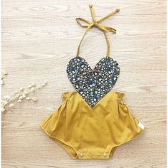 This romper is perfect for a birthday outfit or for a baby shower gift. Or just as a summer romper for everyday play. The romper has elastic for a Baby Girl Romper, Baby Girl Dresses, Baby Bodysuit, Baby Girl Fashion, Kids Fashion, Birthday Outfit, Baby Tights, Boho Romper, Romper Outfit