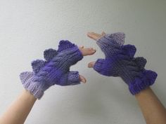 Dragon,dinosaur,monster, fingerless mittens, cozy pure wool, purple and mauve shades, for medium female adult hand