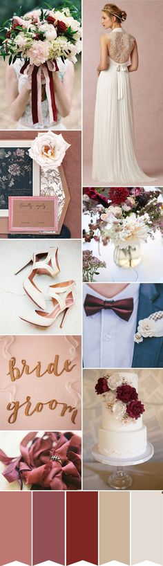 An earthy and warm Marsala wedding color palette. Pantone's colour of the year for 2015...
