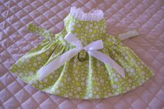 XS-S Lime Green with Floral Design Handmade by PreciousPupSupplies
