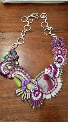 Green and purple soutache necklace