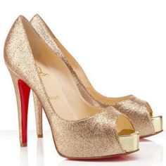 Christian Louboutin Hyper Prive 120mm Golden Red Bottom Shoes