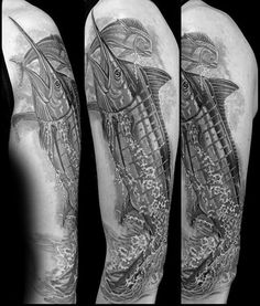 60 Marlin Tattoo Designs For Men - Fish Ink Ideas Tattoo Sleeve Designs, Tattoo Designs Men, Sleeve Tattoos, Hemingway Tattoo, Salmon Tattoo, Tattoos For Guys, Tattoo Ideas, Arm, Fish