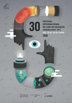 Cinema Jove Film Fest - 2015 edition of the International Film Festival of Valencia. Design studio Casmic Lab was commissioned to develop a unique Cool Poster Designs, Creative Poster Design, Creative Posters, Graphic Design Posters, Graphic Design Typography, Graphic Design Illustration, Graphic Design Inspiration, Design Art, Print Design