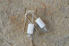 White Jade, Hexagon Column, Rectangle Ear Hook - Modern Sterling Silver Earrings by adrienneadelle, $19.95