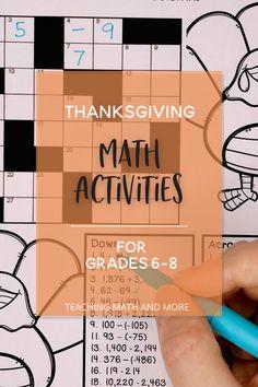 Middle School Black Friday & Thanksgiving Math
