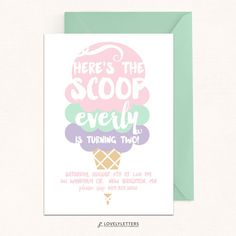 Ice Cream Birthday Invitation / Ice Cream by LovelyLettersDesign