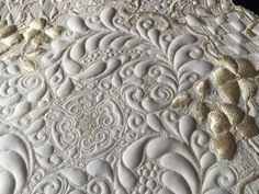 Close up of Kelly Cline's work on the vintage Society silk linen.