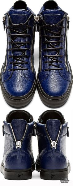 Giuseppe Zanotti Blue Grained Leather High-Top Sneakers #PurelyInspiration