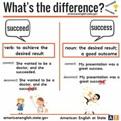 """hellolearnenglishwithantriparto: """" What's the difference between SUCCEED & SUCCESS #learnenglish """""""