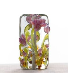Lampwork Bead Glass Handmade Purple Pink Flowers by susansheehan,