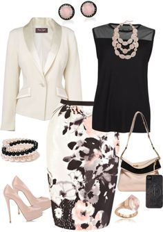 """Work or Church"" by denise-cooper ❤ liked on Polyvore. Beautiful skirt. Minus jewelry."
