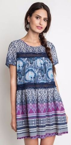 Umgee-Paisley-Baby-Doll-Dress-Bohemian-Boho-Hippie-Gypsy-Blue-Mix-A1505 #UNIQUE_WOMENS_FASHION