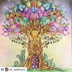 Morri com a pintura da @eli_federzoni é muito talento! Livro #florestaencantada Use #desenhoscolorir  para ver seus desenhos por aqui. #enchantedforest #johannabasford  #secretgarden  #florestaencantadatop