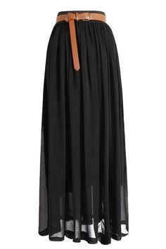 Chiffon Maxi Skirt in Black
