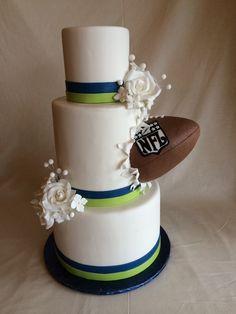 Football wedding cake | superbowl wedding | seahawks | rice krispy football