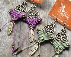 Micro Macrame Earring Patterns | micro macrame earrings boho jewelry macrame hippie chic earrings ...