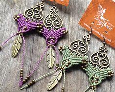 Micro Macrame Earring Patterns | micro macrame earrings boho jewelry macrame hippie chic earrings ...