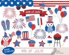 4th of July Clipart July 4th Clipart Fourth of by PrintMakeLove, $4.00