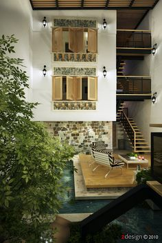 Beautiful Shutters In Central Courtyard And Natural Wood Window In White Wall