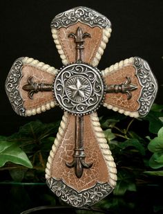 10 tall western silver star cross fits on stand