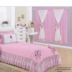 cortina infantil para quarto de menina bailarina - 2x1,70m