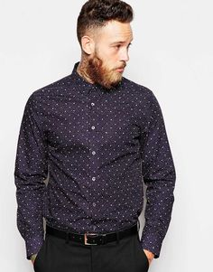 "Chemise par PS By Paul Smith Tissu de coton de bonne tenue Imprimé sur l'ensemble Col en pointe Patte de boutonnage Coupe slim près du corps Lavage en machine 100% coton Le mannequin porte l'article en taille Medium et mesure 191 cm (6'3"")"