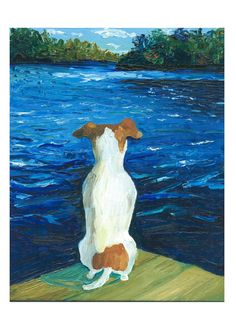 """Missed the boat"" oil on canvas  jack russell by Benita Collini"