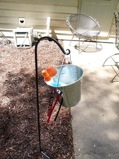 Bug spray station for our outdoor Graduation party.