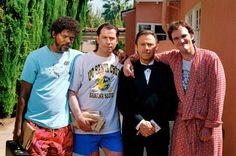 Samuel L. Jackson, J. Travolta, H. Keitel and Quentin Tarantino on the set of Pulp Fiction.