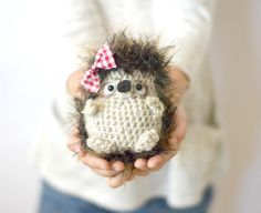 Too cute! Make this crochet hedgehog with Lion Brand Fishermen's Wool and Pelt faux fur! Get the free pattern by Mama in a Stitch.