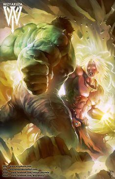 Hulk vs Super Saiyan Broly - Marvel y Dragon Ball Z Crossover - impresión Digital de 11 x 17 Manga Dbz, Majin, Dragon Ball Gt, Dragon Bollz, Incredible Hulk, Super Saiyan, Marvel Art, Marvel Characters, Anime Comics