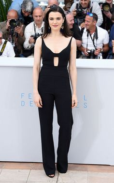 "Rachel Weisz sports a Narcisco Rodriguez scuba crepe jumpsuit at ""The Lobster"" photocall"