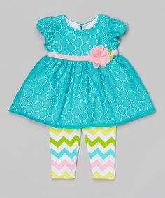 Loving this Turquoise Crochet Lace Tunic & Chevron Leggings - Infant on #zulily! #zulilyfinds