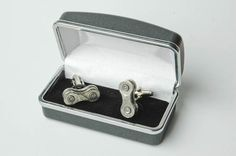 Recycled Bicycle Chain Cuff Links with Gift, Presentation Box $4d0 bicyclerecycle