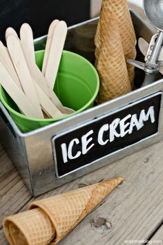 Wooden spoons and sugar cones for an Ice Cream Bar
