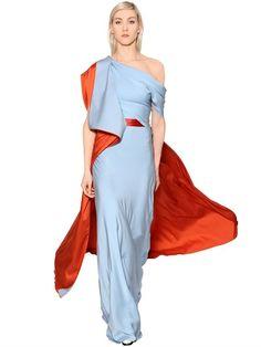 Vionnet Double Silk Georgette & Satin Long Dress, Orange/light Blue In Orange/paleblue Blue Satin Dress, Satin Dresses, Formal Dresses, Wedding Dresses, Long Dresses, Dress Long, Party Dresses, Blue Drapes, Draped Dress