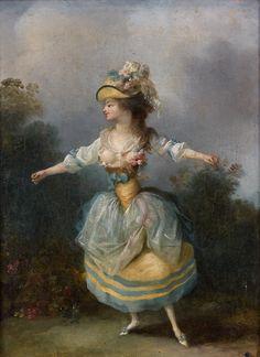 Jean-Frédéric Schall - Danseuse à la robe bleue et jaune - 23 x 32 cm, huile sur toile  © Studio Sébert Photographes