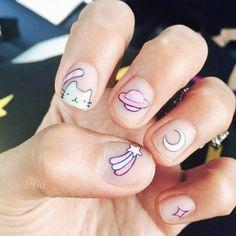 Rustic Cartoon Nail Art Ideas For All Kawaii Nail Art, Cute Nail Art, Really Cute Nails, Pretty Nails, Short Nail Designs, Cute Nail Designs, Nail Manicure, Nail Polish, Unicorn Nails