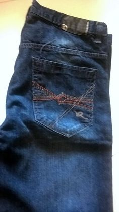 Rocawear Men's Urban Hip Hop Jeans w/ Embroidered Pockets 36x33 #Rocawear #BaggyLoose